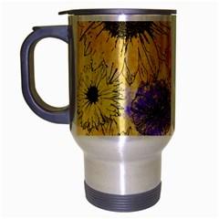Multi Flower Line Drawing Travel Mug (silver Gray) by Simbadda