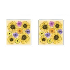 Multi Flower Line Drawing Cufflinks (square) by Simbadda