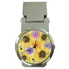 Multi Flower Line Drawing Money Clip Watches by Simbadda