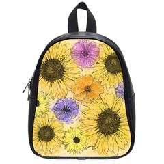 Multi Flower Line Drawing School Bags (small)  by Simbadda