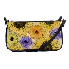 Multi Flower Line Drawing Shoulder Clutch Bags by Simbadda