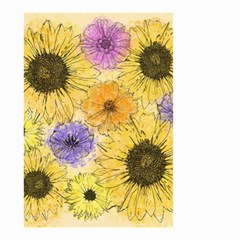 Multi Flower Line Drawing Small Garden Flag (two Sides) by Simbadda