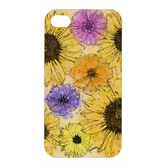 Multi Flower Line Drawing Apple Iphone 4/4s Premium Hardshell Case by Simbadda