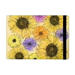 Multi Flower Line Drawing Apple Ipad Mini Flip Case by Simbadda