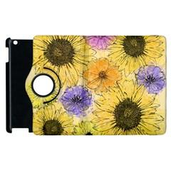 Multi Flower Line Drawing Apple Ipad 2 Flip 360 Case by Simbadda