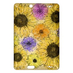 Multi Flower Line Drawing Amazon Kindle Fire Hd (2013) Hardshell Case by Simbadda