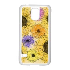 Multi Flower Line Drawing Samsung Galaxy S5 Case (white) by Simbadda