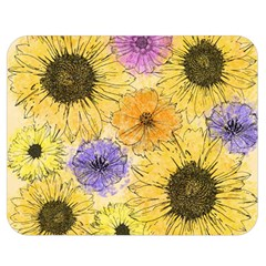 Multi Flower Line Drawing Double Sided Flano Blanket (medium)  by Simbadda