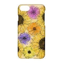 Multi Flower Line Drawing Apple Iphone 7 Hardshell Case by Simbadda