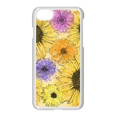 Multi Flower Line Drawing Apple Iphone 7 Seamless Case (white) by Simbadda