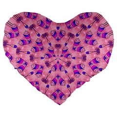 Mandala Tiling Large 19  Premium Heart Shape Cushions by Simbadda