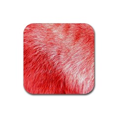 Pink Fur Background Rubber Square Coaster (4 Pack)  by Simbadda