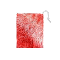 Pink Fur Background Drawstring Pouches (small)  by Simbadda