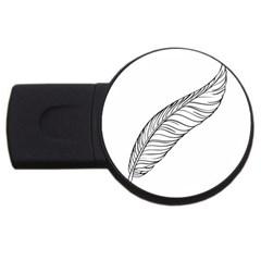 Feather Line Art Usb Flash Drive Round (2 Gb) by Simbadda