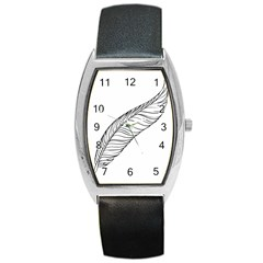 Feather Line Art Barrel Style Metal Watch by Simbadda