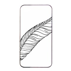 Feather Line Art Apple Iphone 4/4s Seamless Case (black) by Simbadda