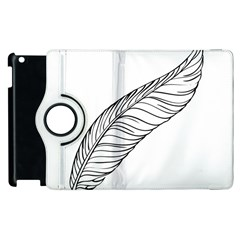 Feather Line Art Apple Ipad 3/4 Flip 360 Case by Simbadda