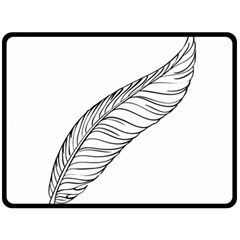 Feather Line Art Double Sided Fleece Blanket (large)  by Simbadda