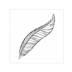 Feather Line Art Small Satin Scarf (square) by Simbadda