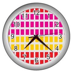 Squares Pattern Background Colorful Squares Wallpaper Wall Clocks (silver)  by Simbadda