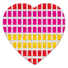 Squares Pattern Background Colorful Squares Wallpaper Jigsaw Puzzle (heart) by Simbadda