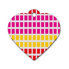 Squares Pattern Background Colorful Squares Wallpaper Dog Tag Heart (one Side) by Simbadda
