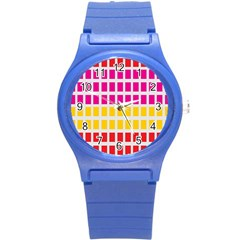 Squares Pattern Background Colorful Squares Wallpaper Round Plastic Sport Watch (s) by Simbadda