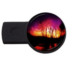 Fall Forest Background Usb Flash Drive Round (2 Gb) by Simbadda