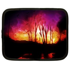 Fall Forest Background Netbook Case (large) by Simbadda