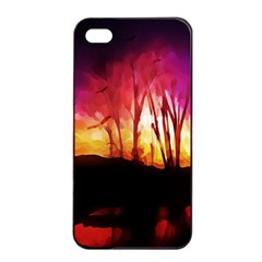 Fall Forest Background Apple Iphone 4/4s Seamless Case (black) by Simbadda