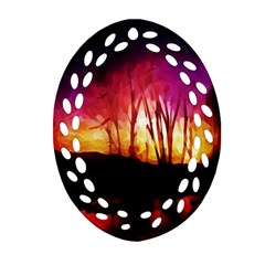Fall Forest Background Oval Filigree Ornament (two Sides) by Simbadda
