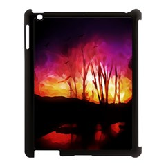 Fall Forest Background Apple Ipad 3/4 Case (black) by Simbadda