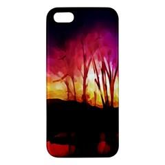 Fall Forest Background Iphone 5s/ Se Premium Hardshell Case by Simbadda