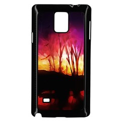 Fall Forest Background Samsung Galaxy Note 4 Case (black) by Simbadda