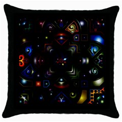 Geometric Line Art Background In Multi Colours Throw Pillow Case (black) by Simbadda