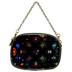 Geometric Line Art Background In Multi Colours Chain Purses (one Side)  by Simbadda