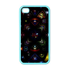 Geometric Line Art Background In Multi Colours Apple Iphone 4 Case (color) by Simbadda