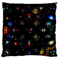 Geometric Line Art Background In Multi Colours Large Flano Cushion Case (one Side) by Simbadda