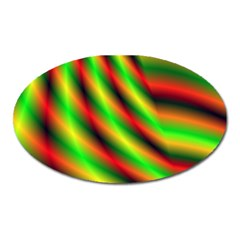 Neon Color Fractal Lines Oval Magnet by Simbadda