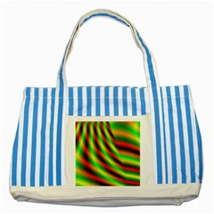 Neon Color Fractal Lines Striped Blue Tote Bag by Simbadda