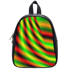 Neon Color Fractal Lines School Bags (small)  by Simbadda