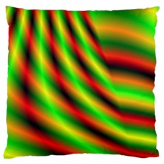 Neon Color Fractal Lines Large Cushion Case (two Sides) by Simbadda