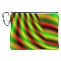 Neon Color Fractal Lines Canvas Cosmetic Bag (xxl) by Simbadda