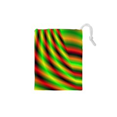 Neon Color Fractal Lines Drawstring Pouches (xs)  by Simbadda