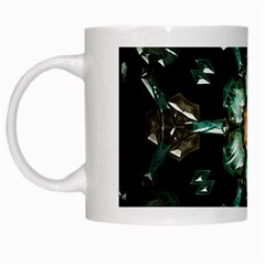 Kaleidoscope With Bits Of Colorful Translucent Glass In A Cylinder Filled With Mirrors White Mugs by Simbadda