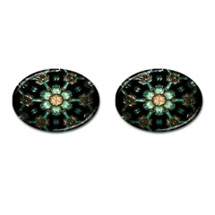 Kaleidoscope With Bits Of Colorful Translucent Glass In A Cylinder Filled With Mirrors Cufflinks (oval) by Simbadda