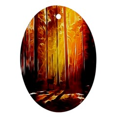 Artistic Effect Fractal Forest Background Ornament (oval) by Simbadda