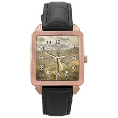 Ceiba Tree At Dry Forest Guayas District   Ecuador Rose Gold Leather Watch  by dflcprints