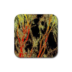 Artistic Effect Fractal Forest Background Rubber Square Coaster (4 Pack)  by Simbadda