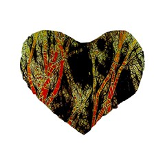 Artistic Effect Fractal Forest Background Standard 16  Premium Flano Heart Shape Cushions by Simbadda